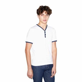 American Apparel Men's 50/50 Henley Ringer V-Neck Short Sleeve T-Shirt