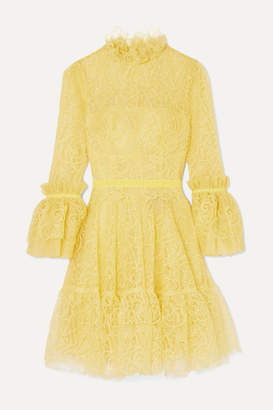 Costarellos Velvet-trimmed Ruffled Corded Lace Mini Dress - Yellow