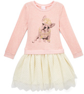 Nannette Peach & Ivory Dog Drop-Waist Dress - Toddler