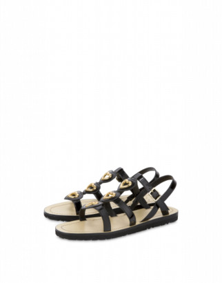 Love Moschino Flat Sandals In Patent Leather Metal Hearts