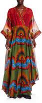 Valentino Abito Da Sera Printed V Neck Silk Dress