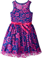 Us Angels Irridescent Lace Sleeveless Illusion w/ Tie Belt & Full Skirt (Big Kids)