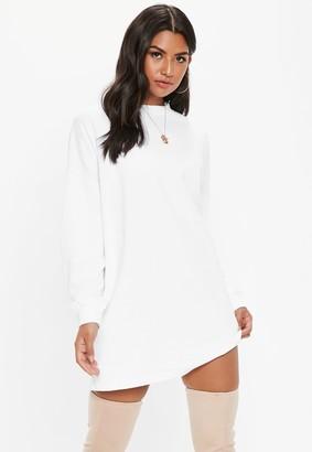 Missguided White Oversized Basic Loopback Sweater Dress