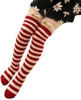 LittleForBig Cute Animal Coral Fleece Thigh High Long Striped Socks