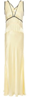 ALEXACHUNG Crochet-trimmed Knotted Satin-crepe Maxi Slip Dress