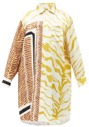Marni Oversized Tiger-print Raw-edge Shirt - Yellow Multi