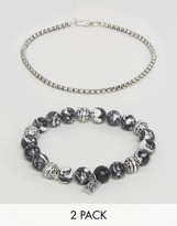 ICON BRAND Marbled Beaded & Silver Chain Bracelets In 2 Pack