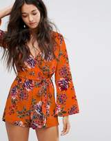 New Look Flare Sleeve Floral Playsuit