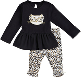 Petit Lem Black Cat Peplum Top & Cheetah Leggings - Infant