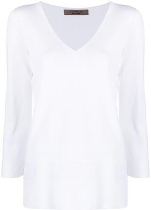 D-Exterior V-neck long-sleeved jumper