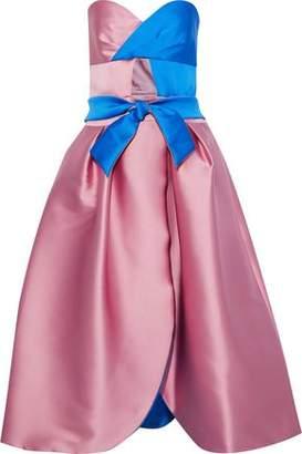 Milly Haley Strapless Two-tone Duchesse-satin Midi Dress