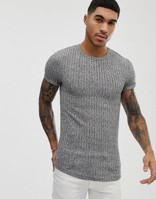 Asos Design DESIGN muscle longline t-shirt with curved hem and roll sleeve in interest rib-Grey