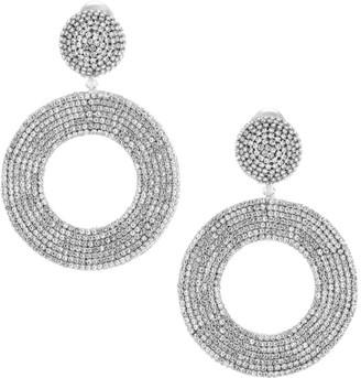 Oscar de la Renta Crystal Pave Clip-On Hoop Earrings