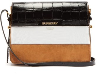 Burberry Grace Large Leather And Suede Shoulder Bag - Womens - Tan White