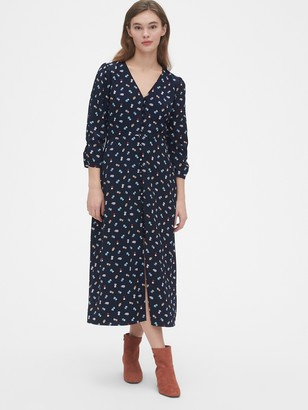 Gap Puff Sleeve Button-Front Midi Dress