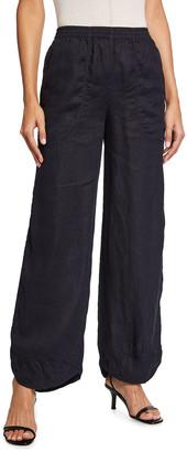 Giorgio Armani Crinkle Cotton Elastic-Waist Beach Pants