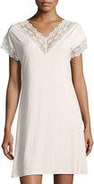 Zimmerli Rainbow Sapphire Lace-Trim Sleepshirt, Light Pink