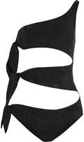 Lisa Marie Fernandez Bianca One-Shoulder Cutout Printed Swimsuit