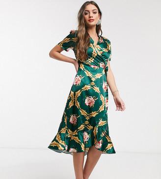 John Zack Petite wrap front midi dress in green rose print