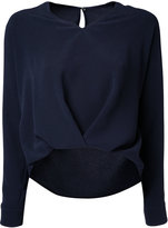 ESTNATION long sleeve V-neck blouse - women - Polyester/Triacetate - 38