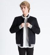 A Question Of Black Leopard Wool Varsity Jacket