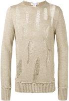 Comme des Garcons destroyed ladder stitch sweater - men - Linen/Flax - S