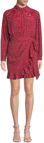Rebecca Taylor Long-Sleeve 3-D Floral-Embroidery Heart-Print Silk Mini Dress