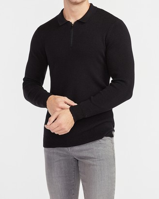 Express Rayon Stretch Zip Polo Sweater