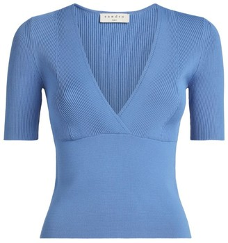Sandro Paris Knitted V-Neck Top