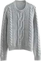 Goodnight Macaroon 'Manee' Grey Cable Knit Sweater
