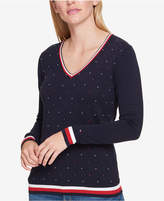 Tommy Hilfiger Cotton Embellished Sweater, Created for Macy's