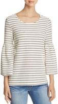 Calvin Klein Dot Stripe Bell Sleeve Blouse
