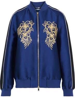 Stella McCartney Embroidered Satin Bomber Jacket