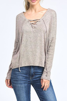 Mono B Lace Up Pullover Top