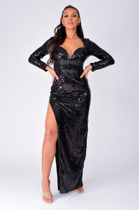 NAZZ COLLECTION Hollywood Vip Black Sequin Plunge Slit Maxi Dress
