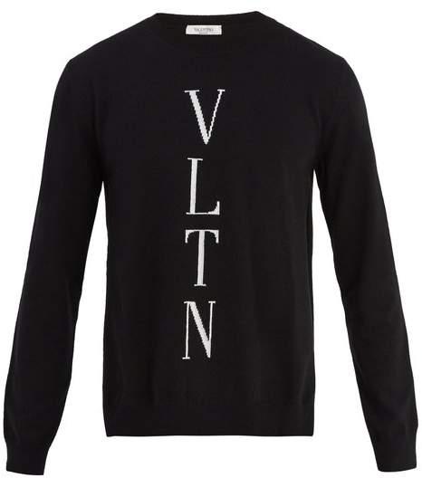 Valentino Logo Instarsia Wool Blend Sweater - Mens - Black