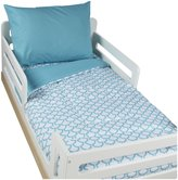 American Baby Company 100% Cotton 4 pc Toddler Bedding Set - Aqua Sea Waves