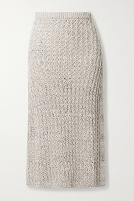 Brock Collection Linen And Cotton-blend Midi Skirt - Light gray