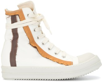Rick Owens Stitching Detail High-Top Sneakers