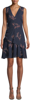 Derek Lam 10 Crosby Ruched Check Flounce Mini Dress