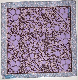 One Kings Lane Vintage Vuitton Cotton Flowers Large Shawl - Vintage Lux - purple, maroon, blue