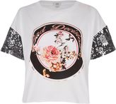 River Island Womens White 'bad decisions' sequin sleeve T-shirt