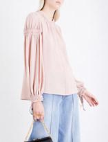 Alexander McQueen Ruched silk-crepe shirt