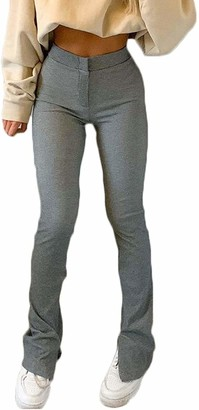 Huyghdfb Women's Stacked Pants Split Hem Leggings Ruffles Sweatpants Casual Ruched Bottoms Trousers (Gray S)