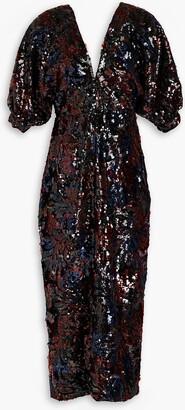 Costarellos Open-back Sequined Chiffon Midi Dress