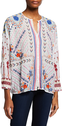 Johnny Was Disha Embroidered Long-Sleeve Blouse