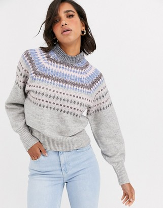 Y.A.S knitted sweater with high neck in gray fairisle