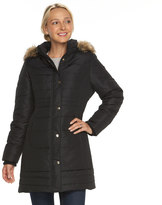Details Women's Hooded Solid Quilted Walker Jacket