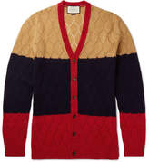 Gucci Colour-Block Honeycomb-Knit Wool Cardigan