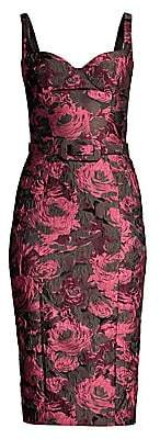 Michael Kors Women's Belted Floral Stretch Jacquard Sheath Dress